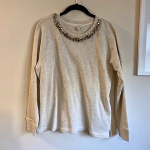 J Crew Factory Jewel Necklace Sweatshirt